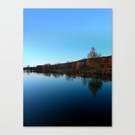 Indian summer sunset at the fishing lake | waterscape photography Canvas Print