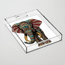 Ornate Elephant (Color Version) Acrylic Tray