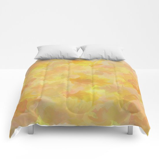 Floating Flowers Painterly Abstract Comforters