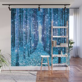 Magical Forest  Light Blue Turquoise Wall Mural