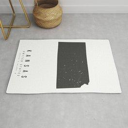 Kansas Mono Black and White Modern Minimal Street Map Rug