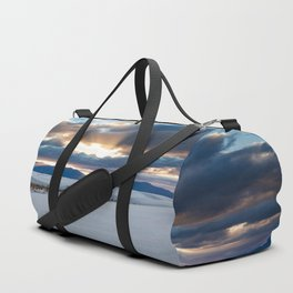 One More Moment - Sunbeams Burst From Clouds Over White Sands New Mexico Duffle Bag