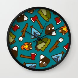 Camping is Cool Pattern Wall Clock