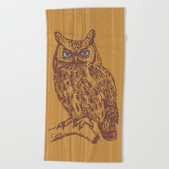 WOODEN OWL Beach Towel