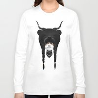 rocks Long Sleeve T-shirts featuring Bear Warrior by Ruben Ireland
