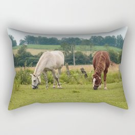 Brown and white horse in field Rectangular Pillow