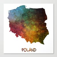 poland Canvas Prints featuring Poland map  by jbjart
