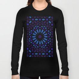 V19 Epic Light Blue Traditional Moroccan Pattern Design . Long Sleeve T-shirt