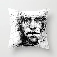 ink Throw Pillows featuring lines hold the memories by agnes-cecile