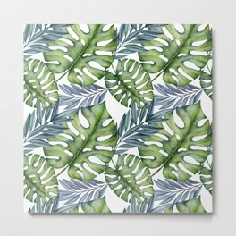 Tropical Leaves (blue and green). Watercolor hand-painted exotic plants. Metal Print