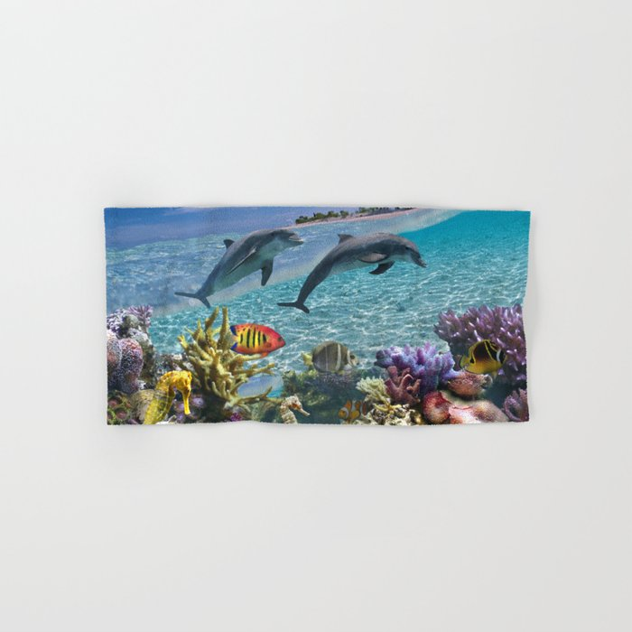 Coral Reef and Dolphins Hand & Bath Towel