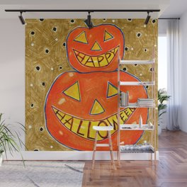 Stacked Jack O' Lanterns by Jenny Elkins Wall Mural