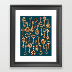 Yellow and Red Skeleton Key Pattern Framed Art Print