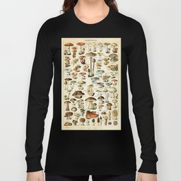 Vintage Mushroom & Fungi Chart by Adolphe Millot Long Sleeve T-shirt