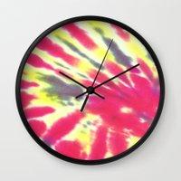 tie dye Wall Clocks featuring Tie Dye by vidixoxo