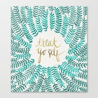calligraphy Canvas Prints featuring Treat Yo Self – Gold & Turquoise by Cat Coquillette
