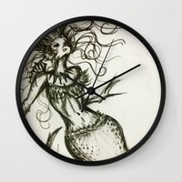 sassy Wall Clocks featuring Sassy Mermaid by OnceUponAWonderland