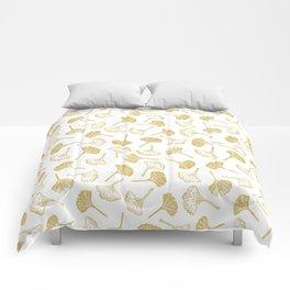 Ginkgo Biloba linocut pattern GLITTER GOLD Comforters