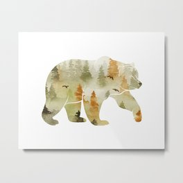 Autumn Forest Bear Silhouette Metal Print