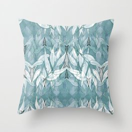 Tribal Lines and White Leaves Throw Pillow