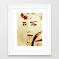 audrey hepburn Framed Art Prints featuring Audrey Hepburn by Farinaz K.
