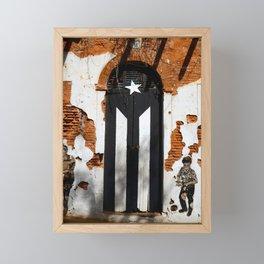 Puerto Rico Black flag Framed Mini Art Print