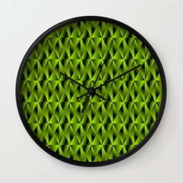 Mystical iridescent green rhombs and black triangles with square volume. Wall Clock