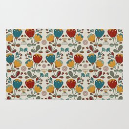 Vintage Ethno Flowers in red, blue and yellow on beige Rug