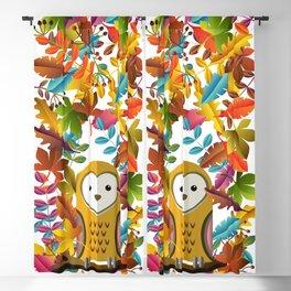 Barn Owl and Autumn Leaves Blackout Curtain
