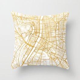LYON FRANCE CITY STREET MAP ART Throw Pillow