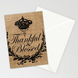french country jubilee crown thanksgiving fall wreath beige burlap thankful and blessed Stationery Cards