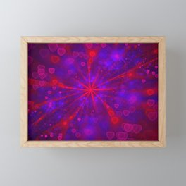 Valentine's Day | Romantic Galaxy | Universe of red, blue, purple hearts Framed Mini Art Print