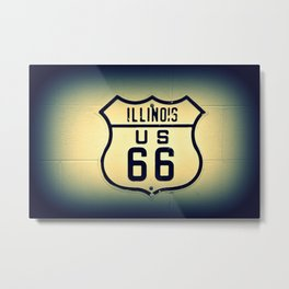 Historic U.S. old Route 66 sign in Illinois. Metal Print