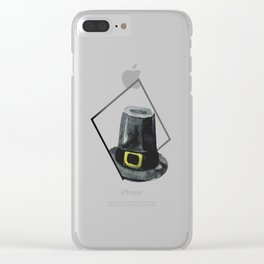 Hat in Square Thanksgiving Minimal Art Clear iPhone Case