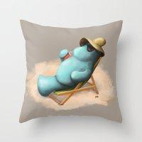manatee Throw Pillows featuring Manatee  by Jamie Bechtel