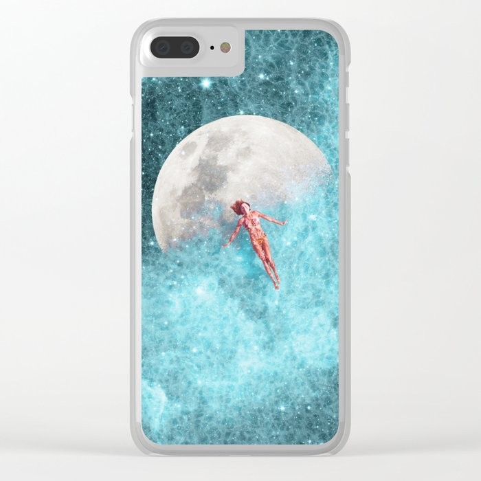 FLOATING TO THE MOON Clear iPhone Case