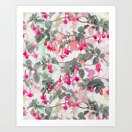 Rainbow Fuchsia Floral Pattern - with grey Art Print