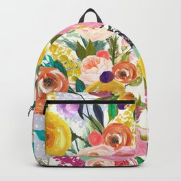 Vibrant Summer Floral Painting in Pink, Gold, and Turquoise Backpack