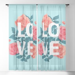 Love Typography with Floral Background Sheer Curtain
