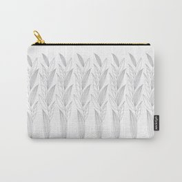 Growing Leaves: Silver Gray – White background Carry-All Pouch