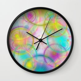 many colorful circles and lights Wall Clock