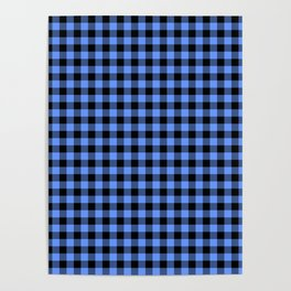 Classic Sky Blue Country Cottage Summer Buffalo Plaid Poster