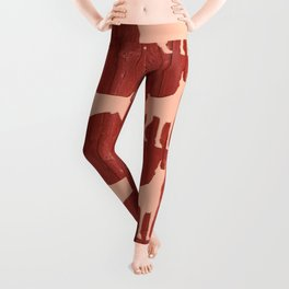 Red wooden board with dobermans shapes Leggings