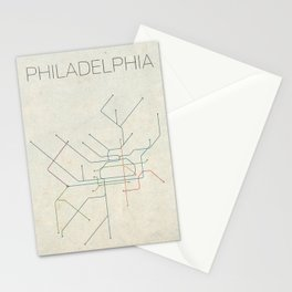 Minimal Philadephia Subway Map Stationery Cards