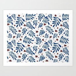 Watercolor branches and flowers - indigo and brown Art Print