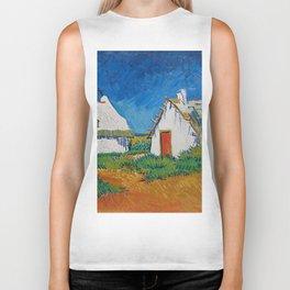 Three White Cottages In Saintes Maries By Vincent van Gogh Biker Tank