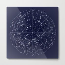 Constellation Map Indigo Metal Print