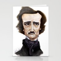 edgar allen poe Stationery Cards featuring Poe by Vito Quintans