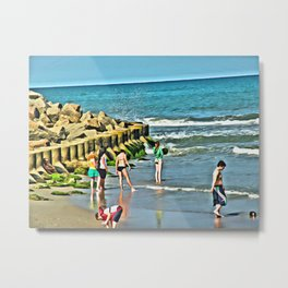 Day At the Beach - Photo rendered as painting Metal Print