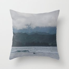 Lone Surfer - Hanalei Bay - Kauai, Hawaii Throw Pillow